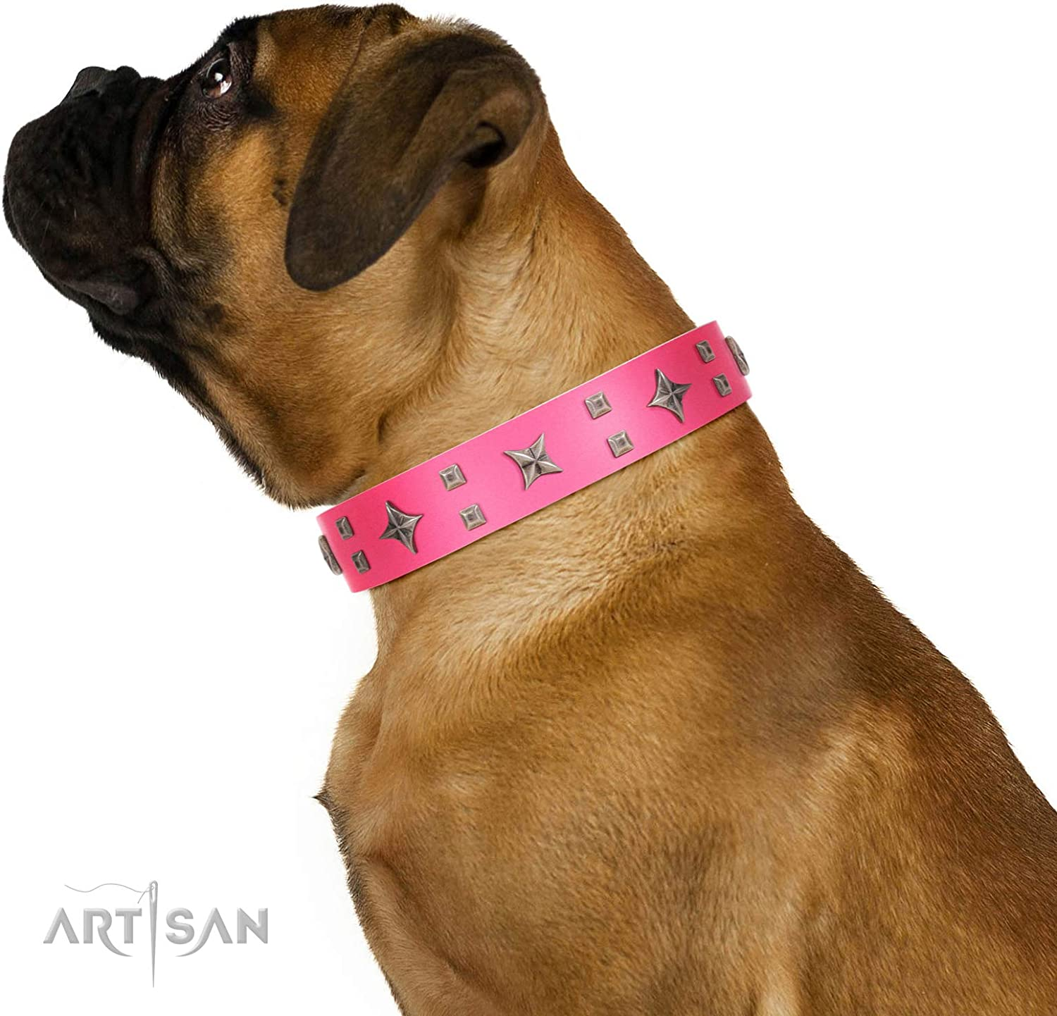 FDT Artisan 24 inch Designer Pink Leather Dog Collar with Exclusive Decorations  Stars in Pink Dreams  1 1 2 inch (40 mm) Wide