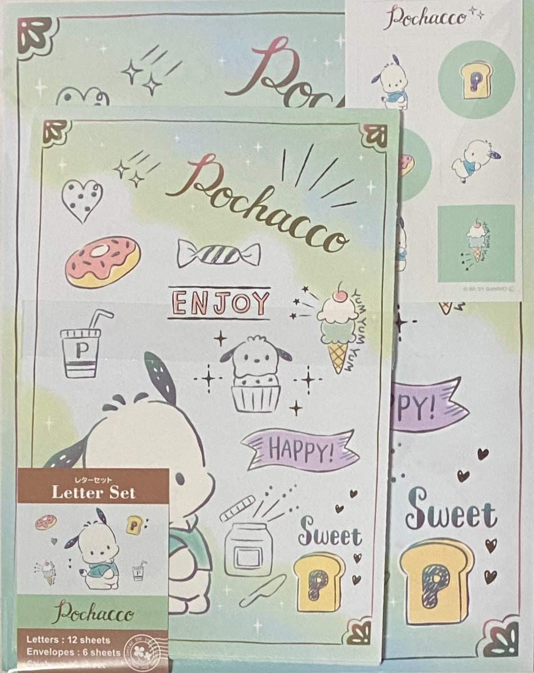 Sanrio Pochacco Letter Set 12 Writing Paper + 6 Envelopes + 7 Stickers Stationary Japan (Sweets)