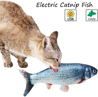 Bangcool Catnip Fish Toys, Cat Chew Toys, Wagging Fish Cat Toy/Electric Fish Toys/Catnip Toys for Cats and Kittens (Rechargeable, with USB)