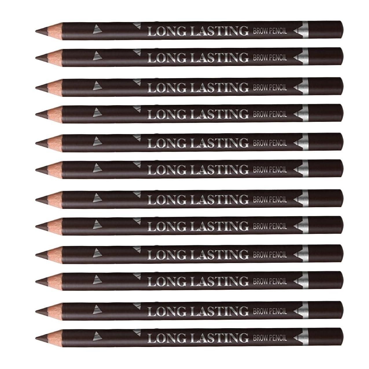 分析的平らな華氏12個防水タトゥー化粧ペンシルアイブロウタトゥーペンセットブラック/ブラウン - ダークブラウン