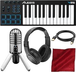 Alesis V25 25-Key USB MIDI Keyboard Controller & Drum Pad with Samson Meteor Mic USB Microphone Deluxe Bundle
