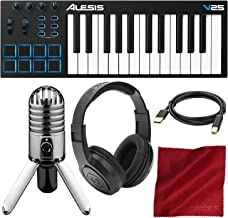 Alesis V25 25-Key USB MIDI Keyboard Controller & Drum Pad with Samson Meteor Mic USB Microphone Deluxe Bundle