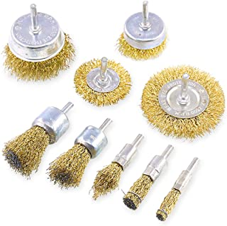 Swpeet 9Pcs Brass Coated Wire Brush Wheel & Cup Brush Set with 1/4-Inch Shank, 9 Sizes Coated Wire Drill Brush Set Perfect...