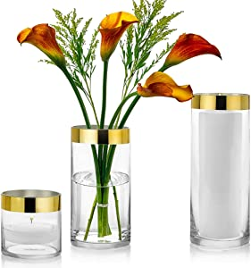 Set of 3 Glass Cylinder Vases 4, 8, 10 Inch Tall with 1 Inch Gold Rim – Multi-use: Pillar Candle, Floating Candles Holders or Flower Vase – Perfect as a Wedding Centerpieces.