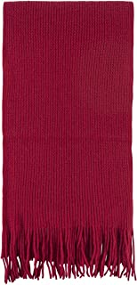 Unisex 100 Percent Cashmere Plain Knit Scarf With Fringe. Made In Scotland-Flamenco
