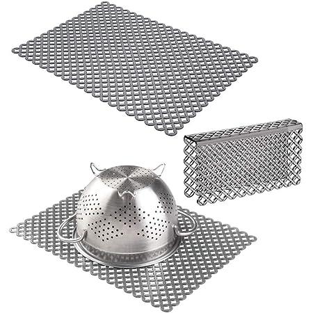 Set of 3 mDesign Plastic Kitchen Sink Protector Set Bubble Design Light Gray