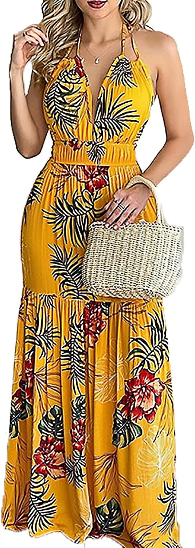 Casual Maxi Dress for Women - Summer Sexy Halter Deep V Floral Boho Backless Party Elegant Long Dress