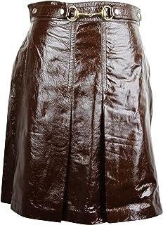 Gucci Women's Horsebit Dark Brown Patent Leather Straight Skirt 410797 2010 (G 40)