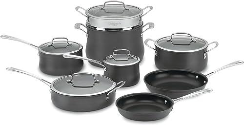 wholesale Cuisinart Contour Hard Anodized 13-Piece outlet online sale Cookware outlet online sale Set,Black online