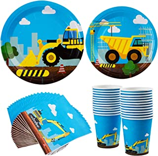 Construction Party Supplies Set Truck Themed Dinnerware Kit Paper Plates Paper Plates, Napkins and Cups 160 Pieces for Serves 24 Guests