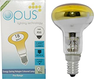 4 x Opus Halogen Orange 18W = 25W Coloured R50 Reflector Light Bulbs SES E14 Small Screw Cap