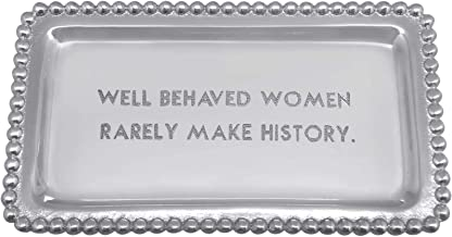 MARIPOSA Well Behaved Women Rarely Make History Beaded Statement Tray, Silver