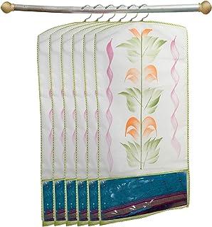 Kuber Industries Printed 6 Piece Non Woven Hanging Saree Cover Wardrobe Organiser (Green) -CTKTC038924
