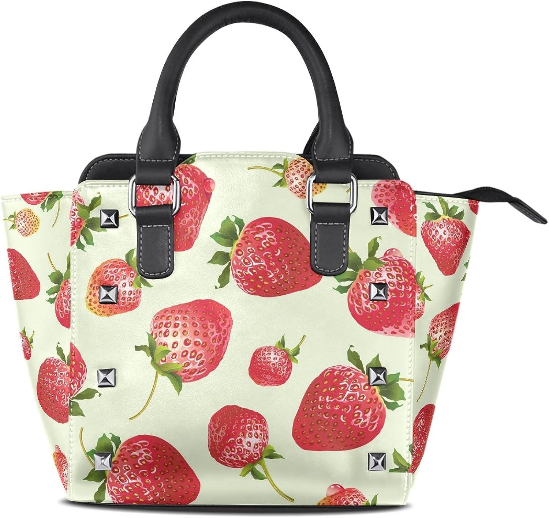 My Little Nest Women's Top Handle Satchel Handbag Fruit Strawberry Ladies PU Leather Shoulder Bag Crossbody Bag