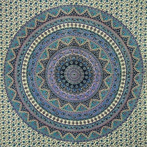 IB Tagesdecke Elefanten Blumen beige blau türkis 235 x 205 cm Baumwolle Wandbehang Dekoration