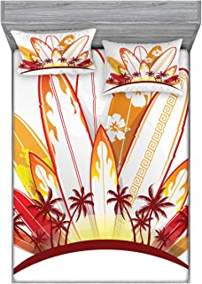 Lunarable Surfboard Bedding Set with Sheet & Covers, Island Surfboards Holidays Paddle Sunset Australia Joy Entertaining, Printed Bedroom Decor 2 Shams, Queen, Marigold White Burgundy