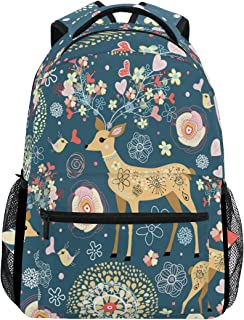 High Angle Deer Antlers On Rustic Wooden School Backpack Laptop Backpacks Casual Bookbags Daypack for Kids Girls Boys and Women