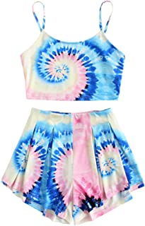 Floerns Women`s Tie Dye Sleeveless Crop Top and Shorts Two Piece Outfits