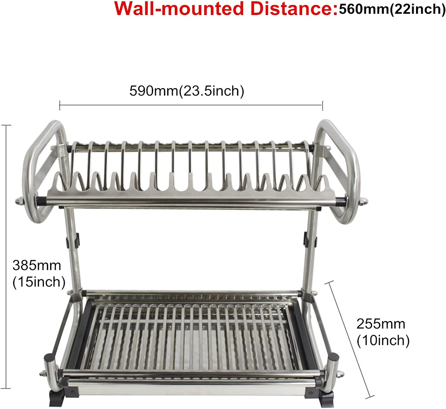 Probrico 2-Tier Stainless Steel Dish Drying Dryer Rack 590mm(23.5 ) Drainer Plate Bowl Storage Organizer Holder Wall Mounted Distance 560mm(22 )