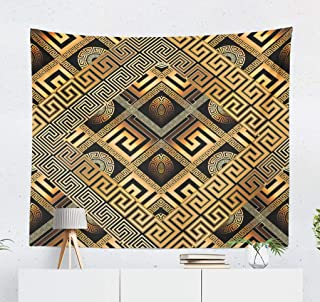 WAYATO Wall Hanging Tapestry, 60 X 50 Inch Modern Abstract Black Gold Greek Key Wallpaper Geometric Trendy for Home Decorations Bedroom Dorm Decor