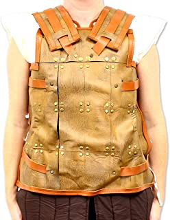 Leather Scale Viking Armor Harness Cuirass for LARP & Cosplay Pleather Material Brown, Tan