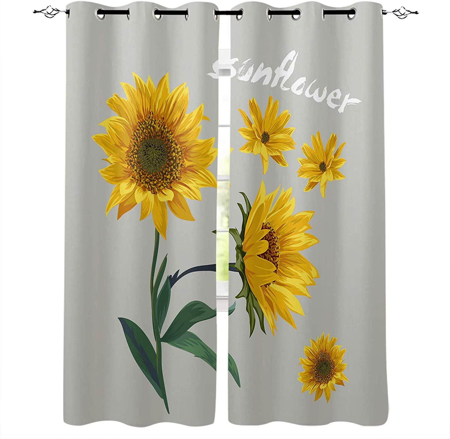 Blackout Curtains Mail order cheap 63 Inch Limited time for free shipping Long Sunflower Backg Bedroom for Gray
