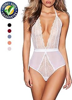AnloveKiss Women Sexy Lingerie-Deep V Neck Backless Halter Teddy Bodysuit  Perspective Lace Babydoll Underwear 271f5da48