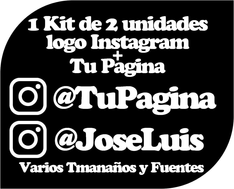 Pegatina Vinilo Personalizado con Perfil Pagina de Instagram - Casco, Pared, Cristal, Puerta, Botella, Libro, Correos, Bici, etc. Kit de 2 Pegatinas (Pack Fuentes 2)