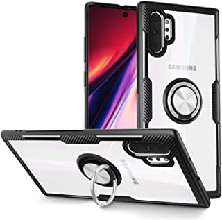 Galaxy Note 10+ Plus/5G Case, Samsung Galaxy Note 10+ Case, Carbon Fiber Design Anti-Fingerprints Crystal Clear Cover with Rotation Finger Ring Kickstand [Work with Magnetic Car Mount],Black