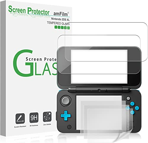 Nintendo 2DS XL Screen Protector Pack, amFilm [2 GLASS Top, 4 PET Bottom] High Quality Screen Protectors for New Nint...