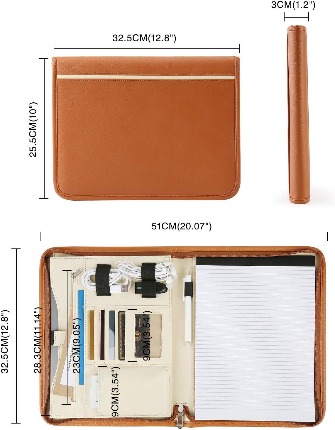 Schreibblock ledermappe a4 arbeitsmappe inkl ECOSUSI A4 Schreibmappe Portfolio Dokumentenmappe Konferenzmappe A4 Rei/ßverschluss