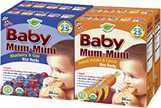 Hot-Kid Baby Mum-Mum Rice Rusks, 2 Flavor Variety Pack, 24 Pieces (Pack of 4) 2 Each: Sweet Potato & Carrot, Blueberry & G...