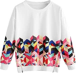 Women's Color Block Long Sleeve Top Geo Print Zipper Side Sweatshirt Pullover Multicolor