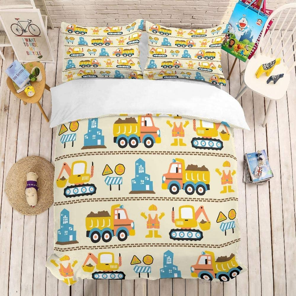 AWDDDER Bedding Cartoon Indefinitely Excavator Car Duvet Cover with Limited price Pillowc 2