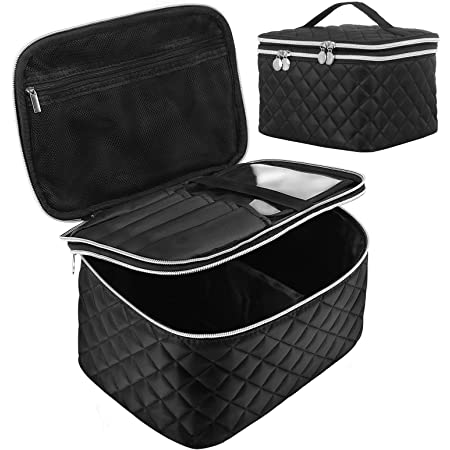 Double Layer Travel Makeup Bag: Portable Cosmetic Bag with Divider Organizer Case for Storage Cosmetics Make up Brush Large Capacity Toiletry Bag for Women and Girls, Black