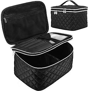 کیسه آرایشی مسافرتی دو لایه: کیف لوازم آرایشی قابل حمل با کیف محافظ مخصوص نگهداری لوازم آرایشی لوازم آرایشی ، برس توالت مخصوص خانم ها و دختران ، مشکی
