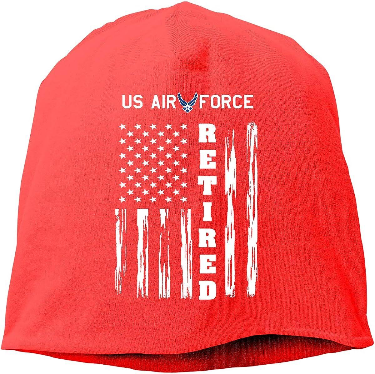 QKQ77 KK7 US AIR Force Retired American Flag Hedging Hat Unisex Skull Hat Knitted Hat Beanie Cap for Autumn//Winter Cap