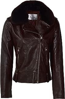 Massimo Dutti Women Nappa Biker Jacket with Detachable Collar Trim 4708/808