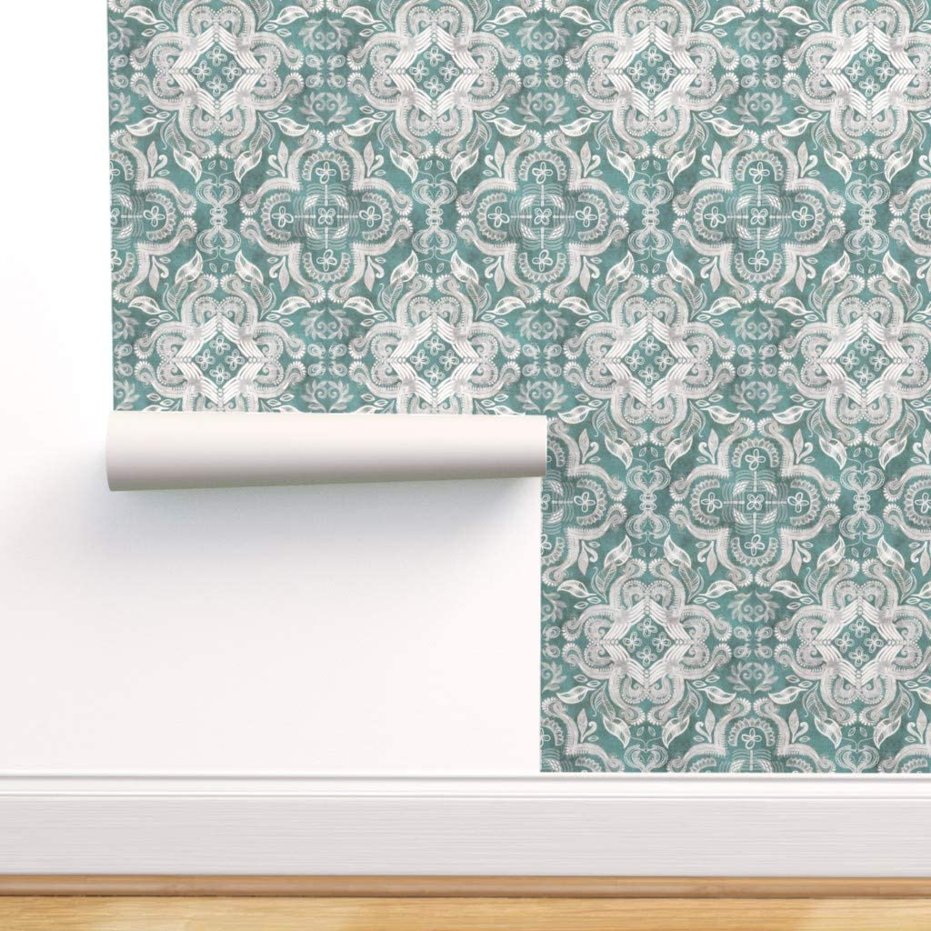 Peel-and-Stick Removable Wallpaper All items free shipping - Bohemian Luxury goods White Blue Texture