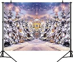 CapiSco 7X5FT Winter Backdrop Photography Background Snow Covered Pine Forest Castle Backdrop Merry Christmas Happy New Year Photo Portrait Vinyl Studio Video Prop Photo Vinyl Backdrop SCO123A