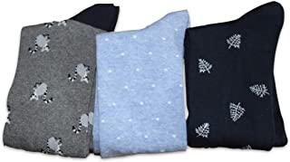 Banana Republic Mens Printed Crew Socks 3 Individual Pair Sock Pairs (Lemurs, Geo Dot, Leaf)