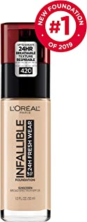 L'Oréal Paris Makeup Infallible up to 24HR Fresh Wear Liquid Longwear Foundation, Lightweight, Breathable, Natural Matte Finish, Medium-Full Coverage, Sweat & Transfer Resistant, True Beige, 1 fl. oz.