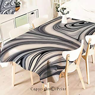 Party Decorations Polyester Tablecloth,of White and Black Hallucinatory Surreal,Waterproof Stain Resistant Table Topper,W55 xL71,Grey