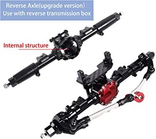 RZXYL Aluminum Reverse Front Axle and Rear Axle for 1:10 Axial SCX10 RC Model Crawler Car (Black)(Use with Reverse Transmission case) (Black)