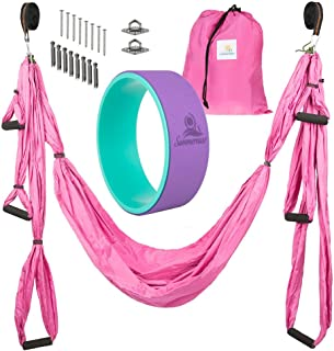 Summerease Yoga Swing/Hammock and Yoga Wheel Set: Antigravity Trapeze Includes 2 Hanging Straps and Hardware. Bonus 12X5 Dharma Wheel, Perfect for Inversion and Flexibility