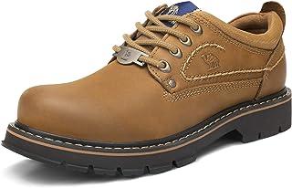 CAMEL CROWN Zapatos de Trabajo de Cuero para Hombres Zapatos de Cordones Antideslizantes de Corte bajo con Cordones