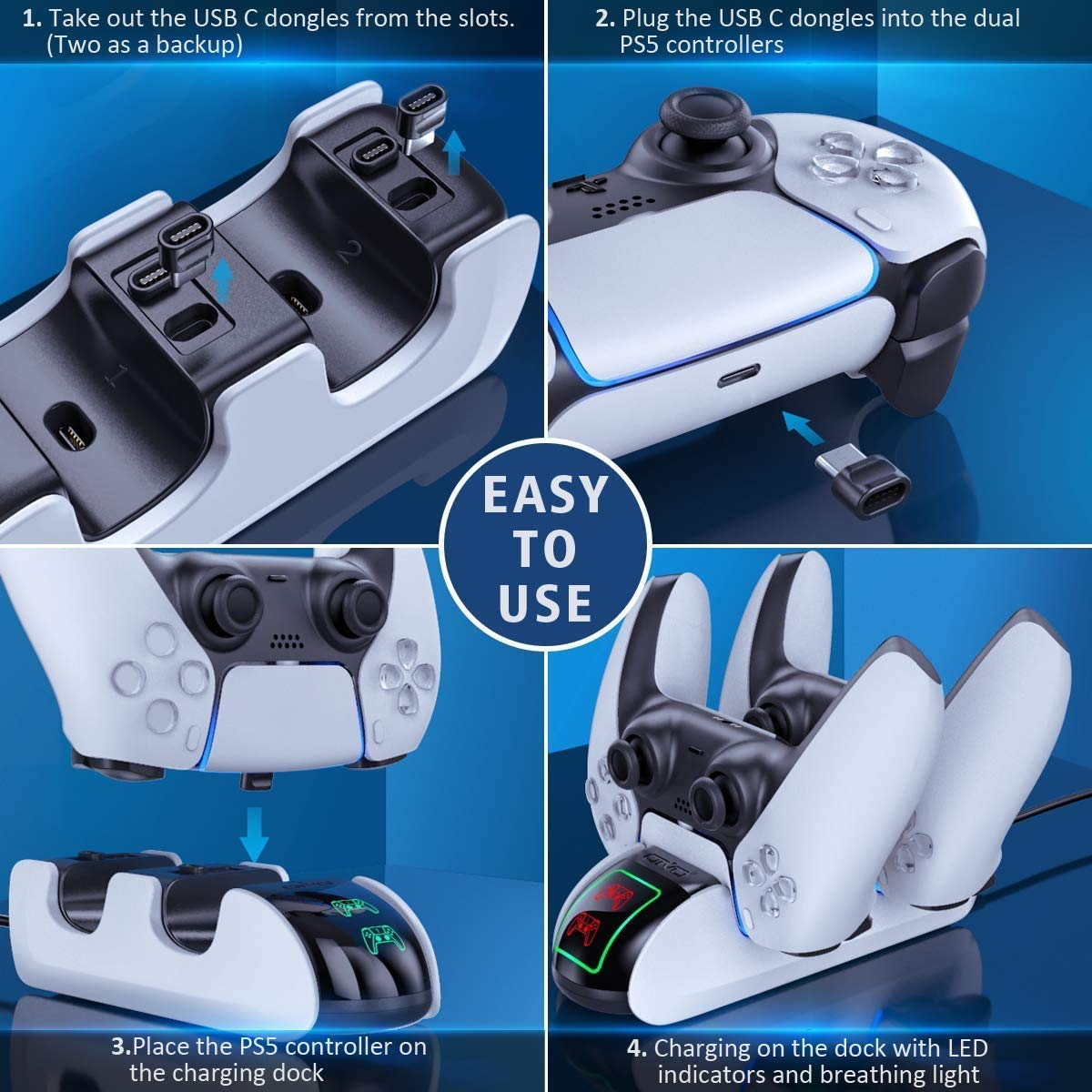 PS5 Controller Charging Station for PlayStation 5 Console, DualSense PS5 Controllers, Twin Docking Wireless Charger, PS5 Accessories Solution With 4 USB-C Adapter, Upgraded LED Strap & indicators