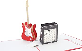 PopLife Guitar and Amp 3D Pop Up Fathers Day Card - Happy Birthday Pop Up Congratulations Card, Guitar Card, Retirement - Guitar Teacher Gift, Musician, Student, Band Present, Music School, Graduation