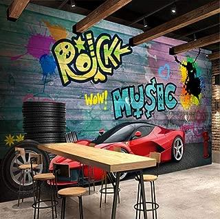3D Stickers Decorations Wallpaper Murals Wall Ferrari Sports Car City Graffiti Cafe Bar Background Art Kids Room (W)300X(H)210Cm