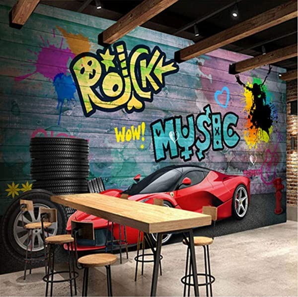 3D 贴纸装饰墙纸壁画墙法拉利跑车城市涂鸦咖啡馆酒吧背景艺术儿童房 W 300X H 210 厘米